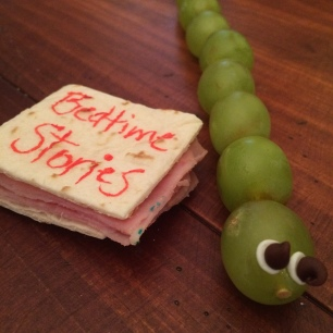 """book"" sandwiches and grape bookworms"